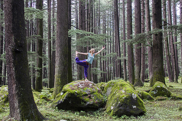 Yoga in the forest, Manali, India