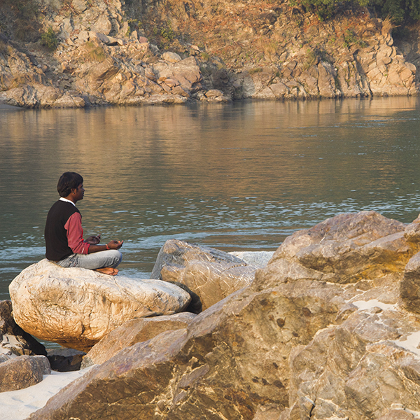 Meditating on the banks of the Ganges, Rishikesh, India